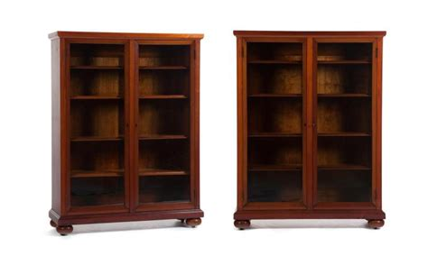 Pair Of Glass Front Library Bookcases Glass Front Bookshelves