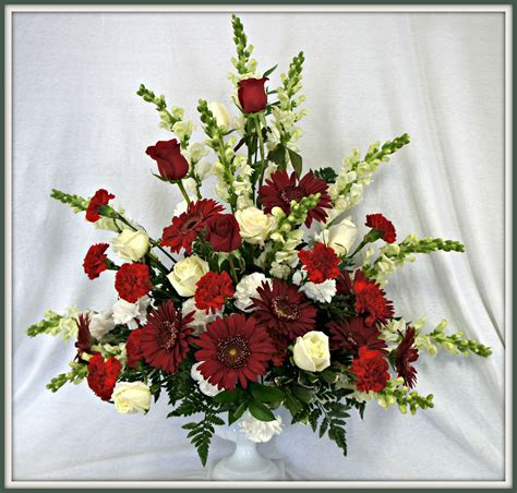 Beautiful red and white pedestal arrangement   Meekers