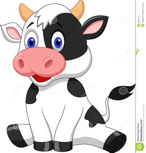 imagenes de vacas kawaii sentada linda de la historieta de la vaca imagenes de