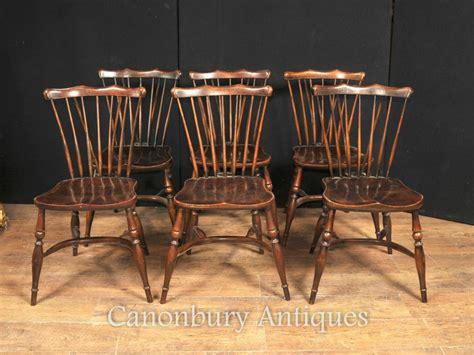Set 6 Antique Oak Windsor Chairs 1920 Kitchen Dining Chair Antique Oak Dining Chairs