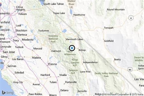 bishop california map earthquake 3 1 quake strikes near west bishop la times