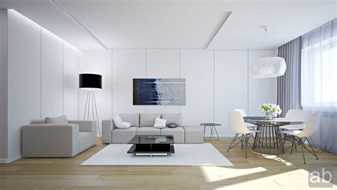 White living room with grey sofa and white chairs