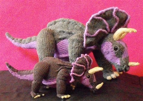 knitted dinosaur pattern free tracy triceratops and baby dinosaurs by madmonkeyknits