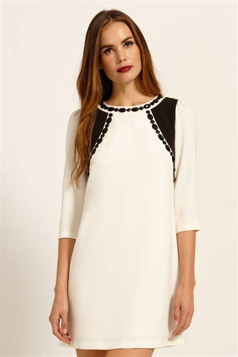 3 4 Sleeve Panel Dress white black gem detail panel 3 4 sleeve shift dress