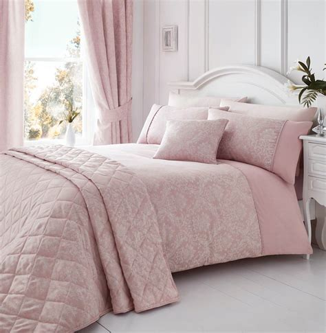 Laurent Pink Woven Damask Quilt Duvet Cover Sets Bedding Linen Bed Set