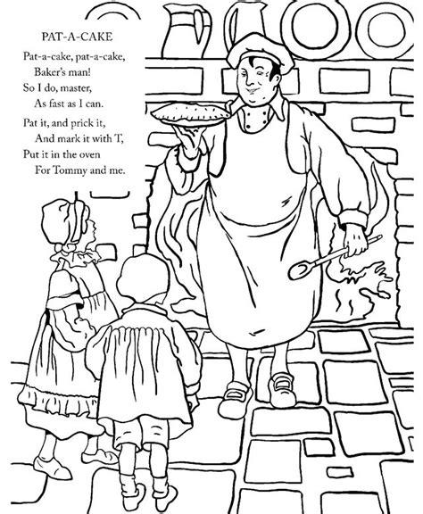 patty cake coloring page pat a cake nursery rhyme nursery rhymes pinterest