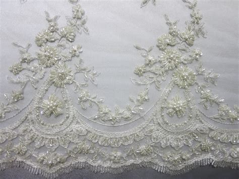 white beaded lace fabric fabric universe white mesh with embroidery beaded lace