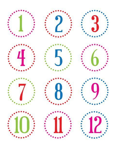 Number Stickers williams countdown to