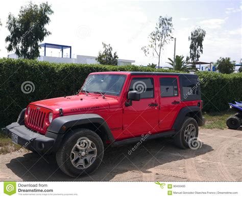 cartoon jeep side view red and black jeep wrangler parked in one lima beach