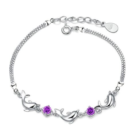 Dolphin Bracelet Purple 925 Sterling Silver Purple dolphin bracelet purple 925 sterling silver gelang wanita purple jakartanotebook