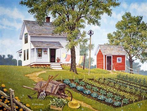 cottage with garden, barn, cottage, farm, garden, gardener