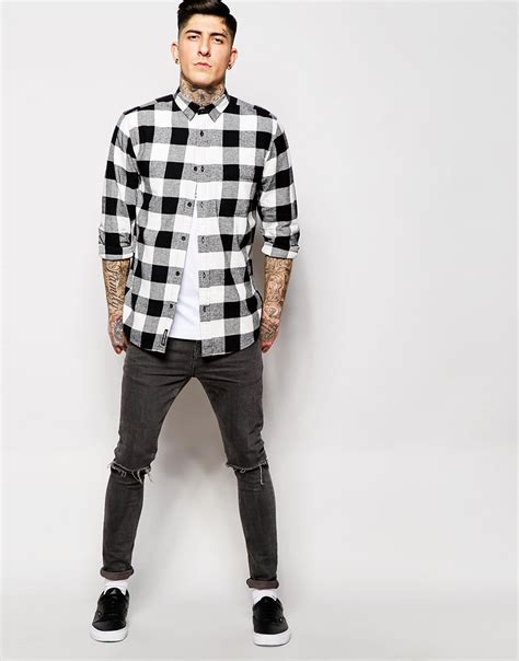 Flanel Black Big White lyst cheap monday shirt neo flannel square check in white for
