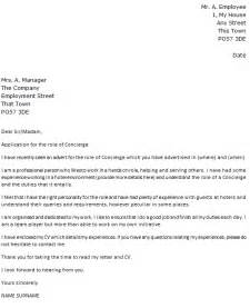 Concierge Cover Letter by Concierge Cover Letter Exle Icover Org Uk