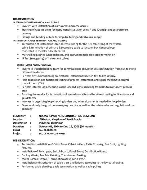Electrical Technician Description by Electrical Technician