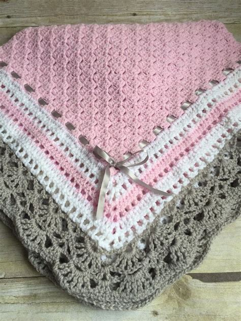 Crochet Handmade - crochet baby toddler childs afhgan blanket pink white grey