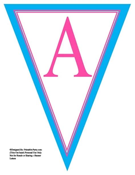 printable banner letters blue 8x10 inch large triangle pennant banner letters a z