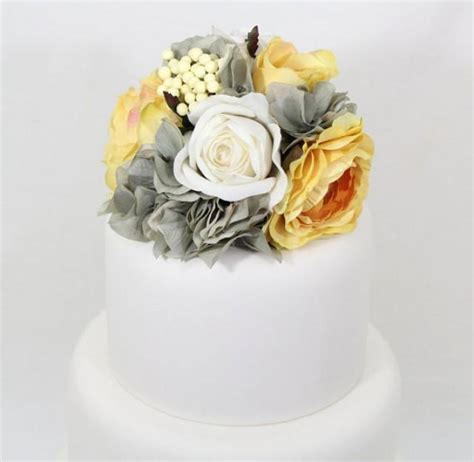 Wedding Cake Silk Flower by Wedding Cake Topper Yellow White Gray Hydrangea