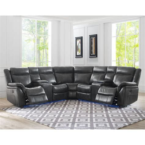 Silver Sectional Sofa by Steve Silver Levin 4 Seat Power Reclining Sectional Sofa
