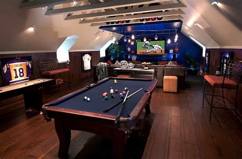 How To Turn A Garage Into A Bedroom Attic Game Room On Pinterest Attic Man Cave Attic Media