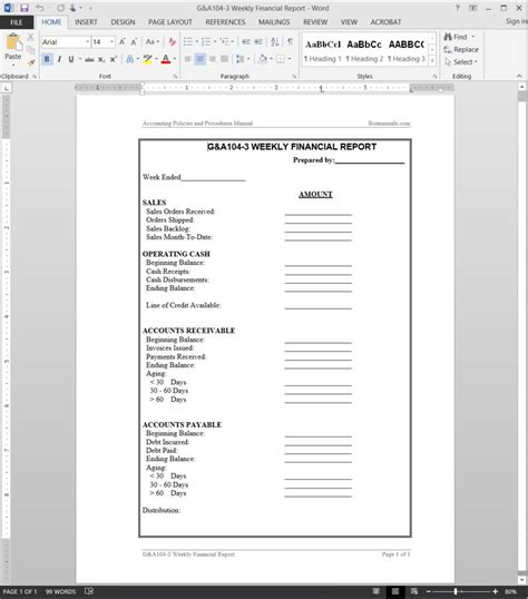 weekly financial report template financial report