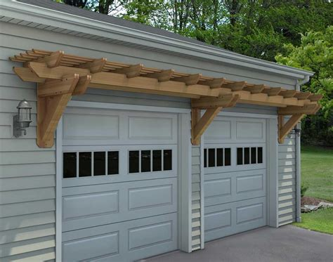 Two Car Garage Plans by Rough Cut Cedar Eyebrow Breeze Wall Mount Pergolas