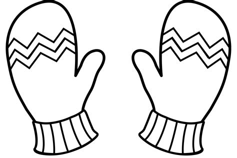 mitten coloring page winter mittens line free clip