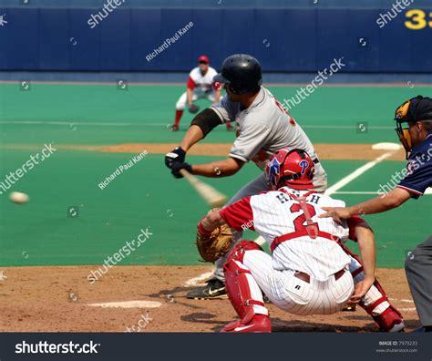 check swing baseball lefthanded batter check swing baseball stock photo 7979233