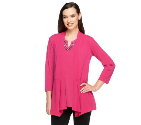 susan graver liquid knit susan graver liquid knit cardigan and embellished tank set