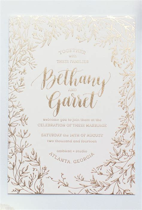Gold Wedding Invitations by Gold Foil Wedding Invitations Brides