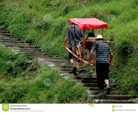 longsheng china porters carrying sedan chair editorial
