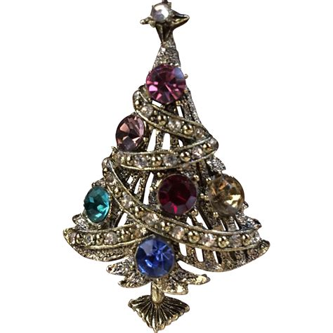 hollycraft christmas tree brooch signed from silkie
