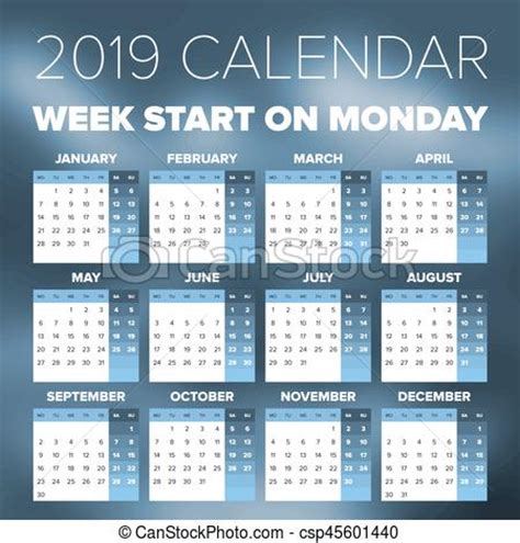 simple  year calendar week starts  monday