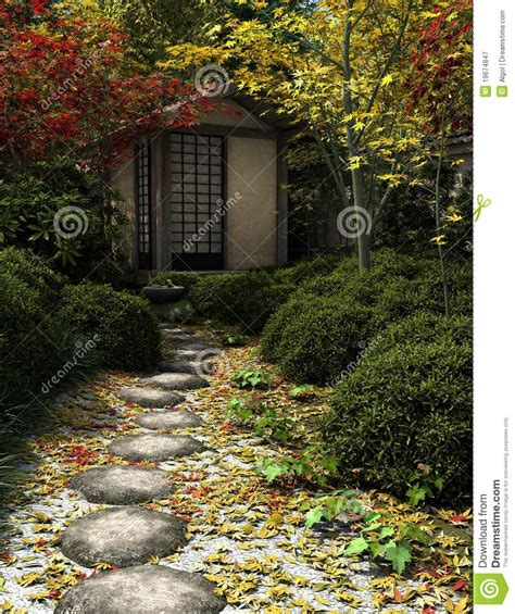japanese tea house  garden royalty  stock