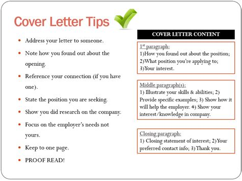 tips for writing a cover letter for a application