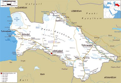 physical map of turkmenistan maps of turkmenistan detailed map of turkmenistan in