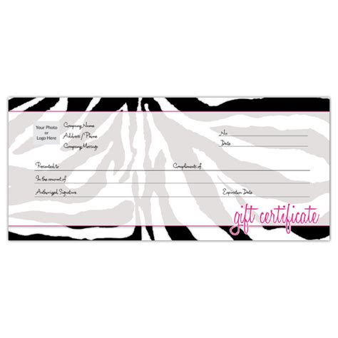 pink gift certificate template order customizable gift certificates zebra iprint