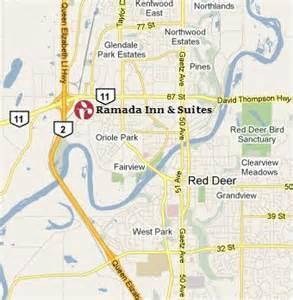 deer alberta canada map map and location of ramada inn suites deer alberta