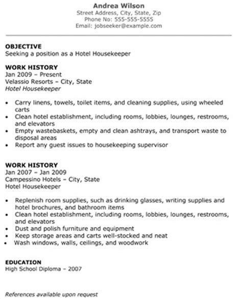Housekeeping Cleaning Resume Sles Hotel Housekeeper Resume Objective Work History
