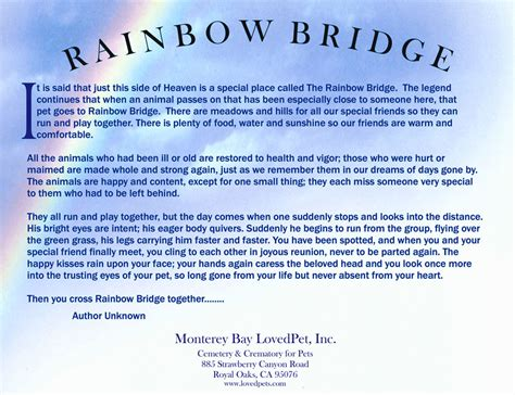 rainbow bridge poem gallery pet cremation and memorial services lovedpets