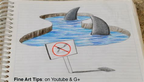 how to draw a 3d drawing 3d sharks on my notebook 3d anamorphic drawing time lapse