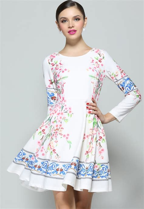 sleeve floral dress white sleeve floral pleated dress abaday