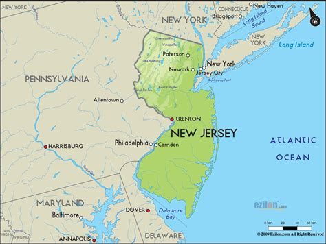 Map Of New York And New Jersey by Geographical Map Of New Jersey And New Jersey Geographical