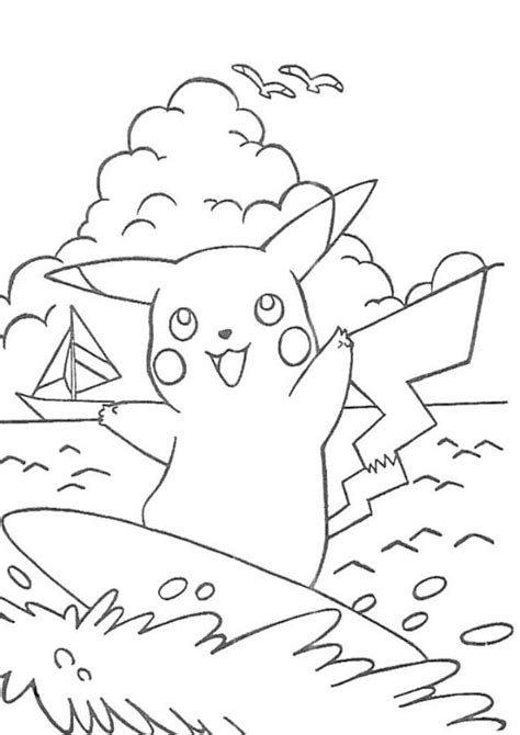 pikachu coloring pages pdf print pikachu surfing pokemon coloring page or download