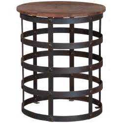 French Country Armoires Reclaimed Metal And Wood Side Table Industrial Chic