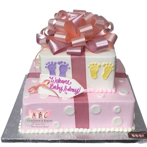 Baby Shower Square Cakes by 1804 2 Tier Square Baby Shower Present Cake Abc Cake