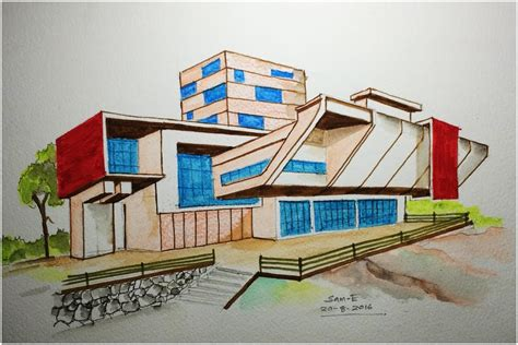 ARCHITECTURE MODERN HOUSE DESIGN (FREEHAND DRAWING)   My