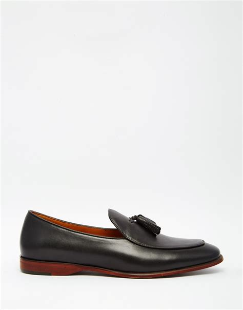 black loafers for aldo miniera leather tassel loafers in black for lyst