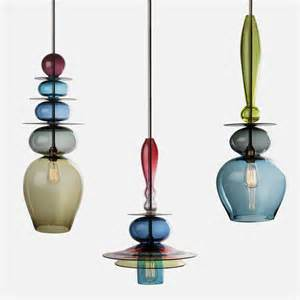 unique and colorful pendant light made of stacked glass