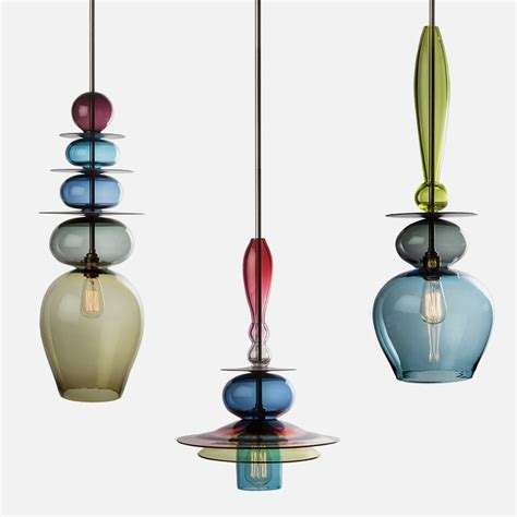 Unique Glass Pendant Lights with Unique And Colorful Pendant Light Made Of Stacked Glass Triptych Stacks Home Building