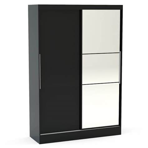 lynx black gloss wardrobe mirrored door bedroom
